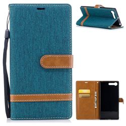 Jeans Cowboy Denim Leather Wallet Case for Sony Xperia X1 - Green