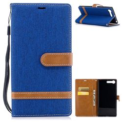 Jeans Cowboy Denim Leather Wallet Case for Sony Xperia X1 - Sapphire