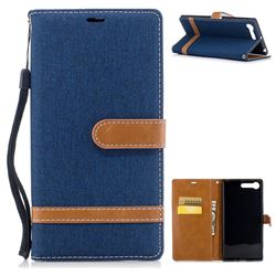 Jeans Cowboy Denim Leather Wallet Case for Sony Xperia X1 - Dark Blue
