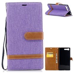 Jeans Cowboy Denim Leather Wallet Case for Sony Xperia X1 - Purple