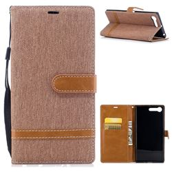 Jeans Cowboy Denim Leather Wallet Case for Sony Xperia X1 - Brown