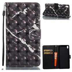 Black Marble 3D Painted Leather Wallet Case for Sony Xperia XA