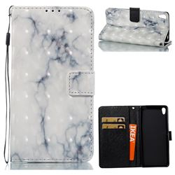 White Gray Marble 3D Painted Leather Wallet Case for Sony Xperia XA