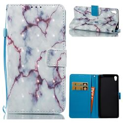 White Purple Marble 3D Painted Leather Wallet Case for Sony Xperia XA