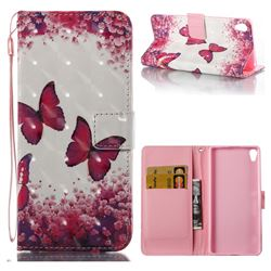 Rose Butterfly 3D Painted Leather Wallet Case for Sony Xperia XA