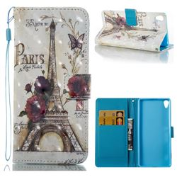 Flower Eiffel Tower 3D Painted Leather Wallet Case for Sony Xperia XA