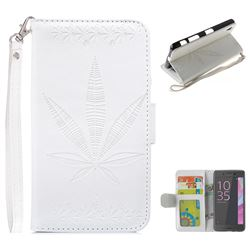 Intricate Embossing Maple Leather Wallet Case for Sony Xperia XA - White