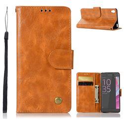 Luxury Retro Leather Wallet Case for Sony Xperia XA - Golden