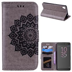 Datura Flowers Flash Powder Leather Wallet Holster Case for Sony Xperia XA - Gray