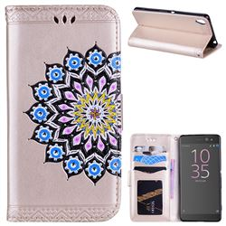 Datura Flowers Flash Powder Leather Wallet Holster Case for Sony Xperia XA - Golden