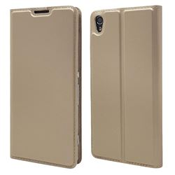 Ultra Slim Card Magnetic Automatic Suction Leather Wallet Case for Sony Xperia XA - Champagne