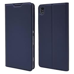 Ultra Slim Card Magnetic Automatic Suction Leather Wallet Case for Sony Xperia XA - Royal Blue