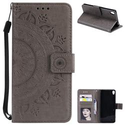Intricate Embossing Datura Leather Wallet Case for Sony Xperia XA - Gray