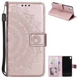 Intricate Embossing Datura Leather Wallet Case for Sony Xperia XA - Rose Gold