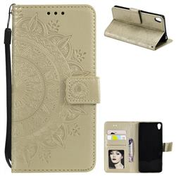 Intricate Embossing Datura Leather Wallet Case for Sony Xperia XA - Golden