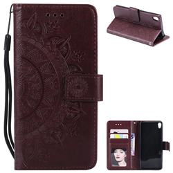 Intricate Embossing Datura Leather Wallet Case for Sony Xperia XA - Brown