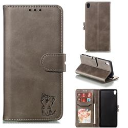 Embossing Happy Cat Leather Wallet Case for Sony Xperia XA - Gray