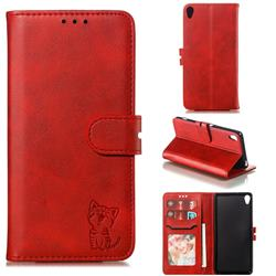 Embossing Happy Cat Leather Wallet Case for Sony Xperia XA - Red