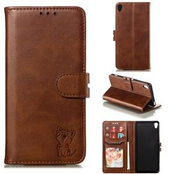 Embossing Happy Cat Leather Wallet Case for Sony Xperia XA - Brown