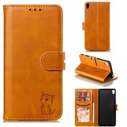 Embossing Happy Cat Leather Wallet Case for Sony Xperia XA - Yellow