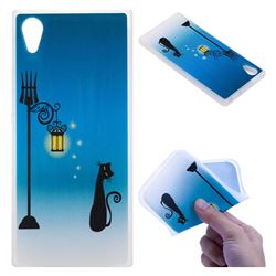 Street Light Cat 3D Relief Matte Soft TPU Back Cover for Sony Xperia XA1