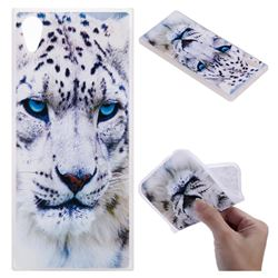 White Leopard 3D Relief Matte Soft TPU Back Cover for Sony Xperia XA1