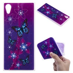 Butterfly Flowers 3D Relief Matte Soft TPU Back Cover for Sony Xperia XA1