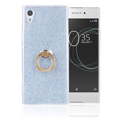 Luxury Soft TPU Glitter Back Ring Cover with 360 Rotate Finger Holder Buckle for Sony Xperia XA1 - Blue