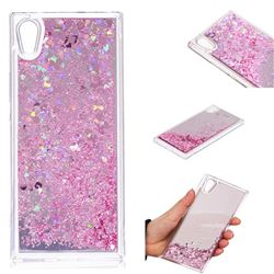 Glitter Sand Mirror Quicksand Dynamic Liquid Star TPU Case for Sony Xperia XA1 - Cherry Pink