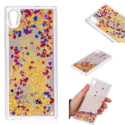 Glitter Sand Mirror Quicksand Dynamic Liquid Star TPU Case for Sony Xperia XA1 - Yellow