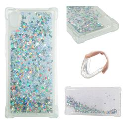 Dynamic Liquid Glitter Sand Quicksand Star TPU Case for Sony Xperia XA1 - Silver
