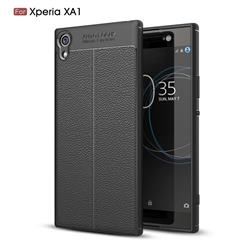 Luxury Auto Focus Litchi Texture Silicone TPU Back Cover for Sony Xperia XA1 - Black