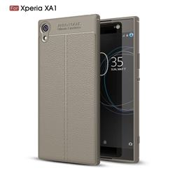 Luxury Auto Focus Litchi Texture Silicone TPU Back Cover for Sony Xperia XA1 - Gray