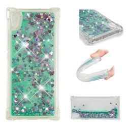 Dynamic Liquid Glitter Sand Quicksand TPU Case for Sony Xperia XA1 - Green Love Heart