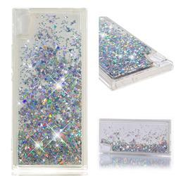Dynamic Liquid Glitter Quicksand Sequins TPU Phone Case for Sony Xperia XA1 - Silver