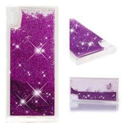 Dynamic Liquid Glitter Quicksand Sequins TPU Phone Case for Sony Xperia XA1 - Purple