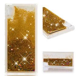 Dynamic Liquid Glitter Quicksand Sequins TPU Phone Case for Sony Xperia XA1 - Golden