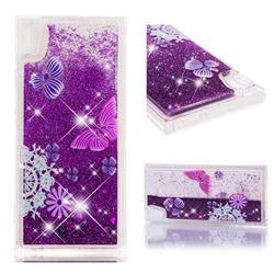 Purple Flower Butterfly Dynamic Liquid Glitter Quicksand Soft TPU Case for Sony Xperia XA1