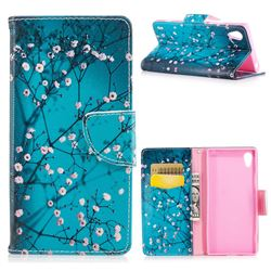 Blue Plum Leather Wallet Case for Sony Xperia XA1