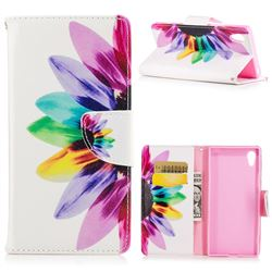 Seven-color Flowers Leather Wallet Case for Sony Xperia XA1