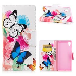 Vivid Flying Butterflies Leather Wallet Case for Sony Xperia XA1