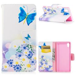 Butterflies Flowers Leather Wallet Case for Sony Xperia XA1