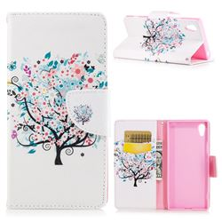 Colorful Tree Leather Wallet Case for Sony Xperia XA1