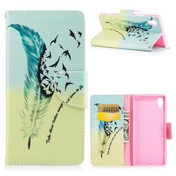 Feather Bird Leather Wallet Case for Sony Xperia XA1