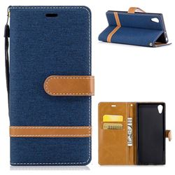 Jeans Cowboy Denim Leather Wallet Case for Sony Xperia XA1 - Dark Blue