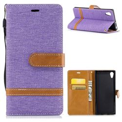 Jeans Cowboy Denim Leather Wallet Case for Sony Xperia XA1 - Purple
