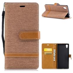 Jeans Cowboy Denim Leather Wallet Case for Sony Xperia XA1 - Brown