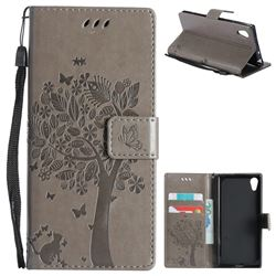 Embossing Butterfly Tree Leather Wallet Case for Sony Xperia XA1 - Grey