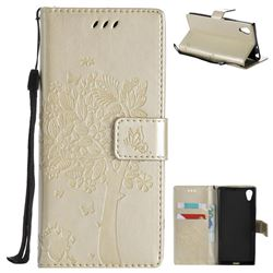 Embossing Butterfly Tree Leather Wallet Case for Sony Xperia XA1 - Champagne