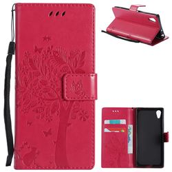Embossing Butterfly Tree Leather Wallet Case for Sony Xperia XA1 - Rose